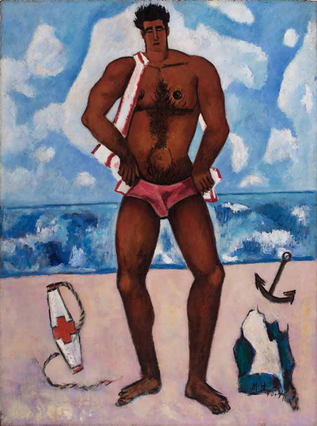 Marsden Hartley. Canuck Yankee Lumberjack at Old Orchard Beach, Maine, 1940–41. Oil on Masonite-type hardboard, 40 1/8 x 30 in (101.9 x 76.2 cm). Hirshhorn Museum and Sculpture Garden, Smithsonian Institution.