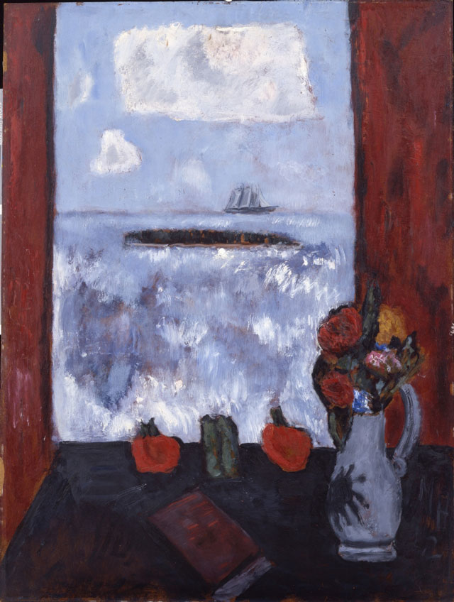 Marsden Hartley. Summer, Sea, Window, Red Curtain, 1942. Oil on masonite, 40 1/8 x 30 1/2 in (101.9 x 77.5 cm). Addison Gallery of American Art, Phillips Academy, Andover, Massachusetts, Museum Purchase.