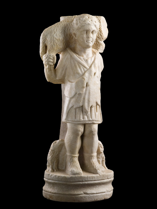 Table Support with the Good Shepherd, first half of 4th century. Prokonnesian marble, overall: 73 x 28 x 28.5 cm (28 3/4 x 11 x 11 1/4 in.) Byzantine and Christian Museum, Athens.