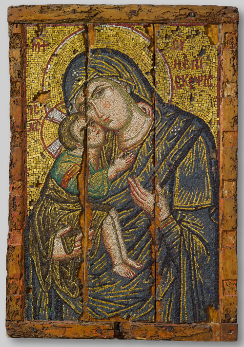 Mosaic icon of the Virgin Episkepsis, late 13th century. Glass, gold, and silver tesserae, overall: 107 x 73.5 cm (42 1/8 x 28 15/16 in.). Byzantine and Christian Museum, Athens.