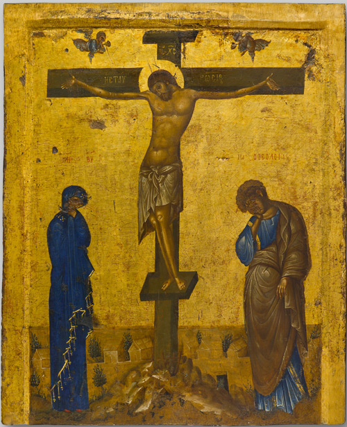 Icon of the Crucifixion, first half of 14th century. Tempera and gold on wood, overall: 103.6 x 84 x 4.5 cm (40 13/16 x 33 1/16 x 1 3/4 in.). Byzantine and Christian Museum, Athens.
