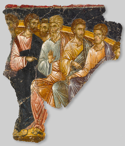 Fragment of a wall painting of the washing of the feet, 1360-1380. Fresco, overall: 92 x 78 x 6 cm (36 1/4 x 30 11/16 x 2 3/8 in.)