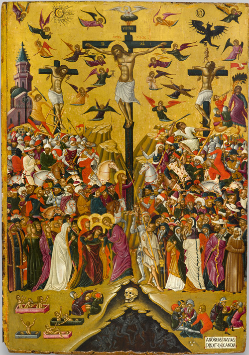 Andreas Pavias. Icon of the Crucifixion, second half of 15th century. Egg tempera and gold on wood, overall: 83.5 x 59 cm (32 7/8 x 23 1/4 in.) National Gallery, Alexandros Soutzos Museum, Athens.