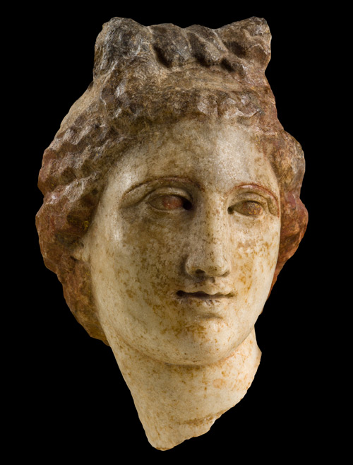 Head of Artemis, mid-3rd century or later. Marble, height: 12.1 cm (4 3/4 in.). Archaeological Museum of Ancient Corinth.