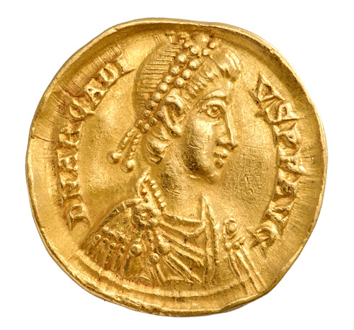 Unknown Artist. Hyperpyron of John V Palaiologos, 1341-1391. Gold, diameter: 2.5 cm (1 in.). Numismatic Museum, Athens