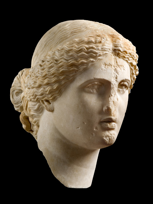Unknown Artist. Head of Aphrodite, 1st century. Marble, possibly Parian (Marathi), height: 15 3/4 in. (40 cm). National Archaeological Museum, Athens.