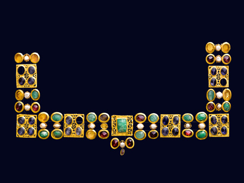 Unknown Artist. Necklace or ornament for a dress, 4th century. Gold and precious stones; opus interrasile, overall size: 12.8 x 22.8 cm (5 1/16 x 9 in.). Museum of Cycladic Art, Athens.