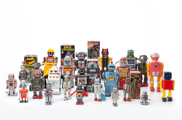 Vintage Toy Robots, 1956 – 1980. Various manufacturers. Courtesy private collection. Photograph: Andreas Sütterlin, 2016.