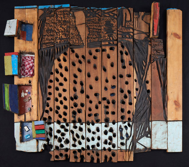 El Anatsui. Oga, 2003. Wood, acrylic, kente cloth and found objects, 100 x 113 x 10 cm. Image courtesy the artist, courtesy The Heong Gallery.