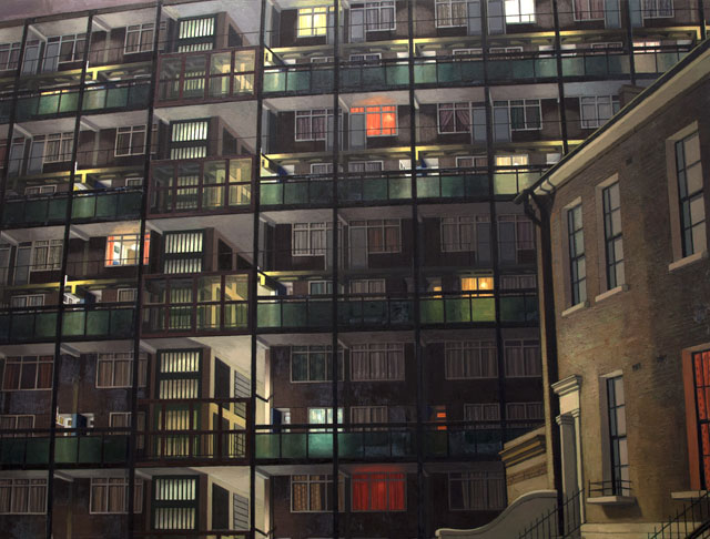 David Hepher. Camberwell Flats by Night, 1983.  Oil on canvas, 199 x 260 cm (78 ½ x 102 ½ in). © David Hepher, Courtesy of Flowers Gallery London and New York.