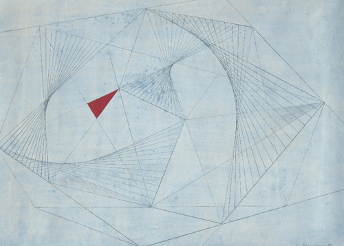 Barbara Hepworth. Red in Tension, 1941. Drawing; Pencil and gouache on paper, 254 x 355 mm. Private collection. © Bowness