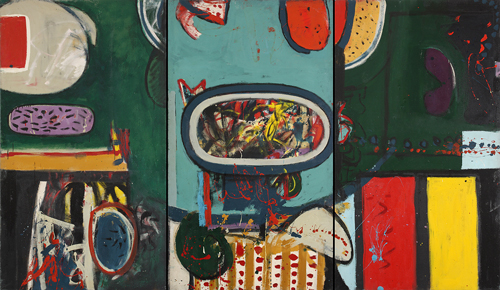 Alan Davie. <em>Patrick's Delight, </em>1960. Oil on canvas, 213 x 366 cm (in three panels). First exhibited Gimpel Fils London, March 1960. Illustrated in <em>Alan Davie</em>; Alan Bowness, Lund Humphries 1967.