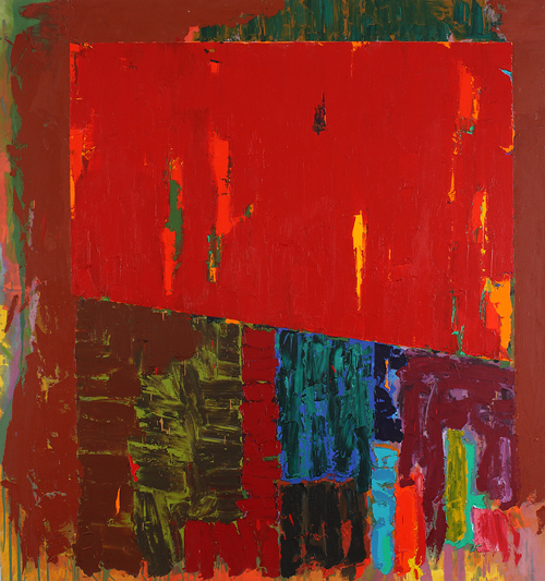 John Hoyland. <em>Shelta 7.2.78. </em>Acrylic on cotton duck, 243 x 229 cm. Not previously exhibited. Illustrated in <em>John Hoyland</em>; Mel Gooding, Thames & Hudson 2006.