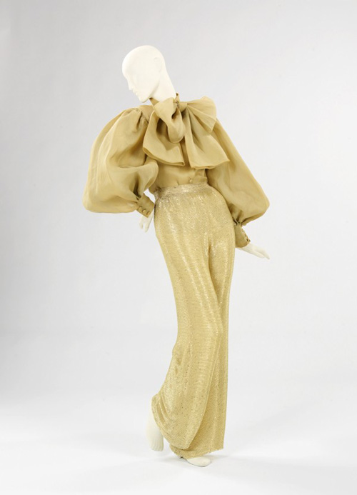Norman Norell (American 1900–1972). <em>Pajamas</em>, 1970–71. Cotton, silk, beads.  The Brooklyn Museum Costume Collection at the Metropolitan Museum of Art.