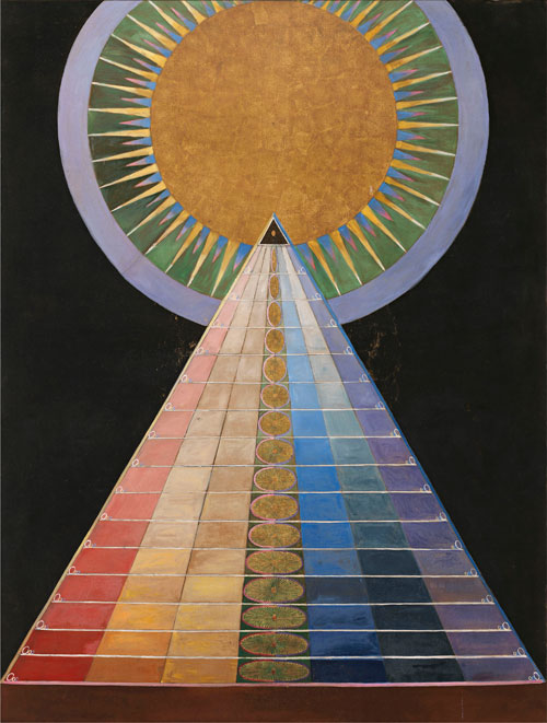 Hilma af Klint. Altarpiece, No. 1, Group X, 1915. Oil and metal leaf on canvas, 237 × 179 cm. © Stiftelsen Hilma af Klints Verk, Photograph: Moderna Museet/Albin Dahlström.