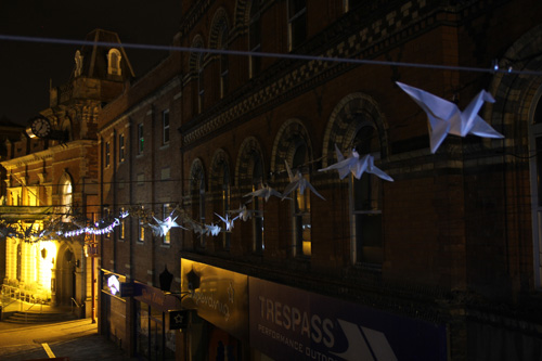 Kathy Hinde. Luminous Birds. Commission for Kidderminster Arts Festival, August 2015. Photograph: Kathy Hinde.