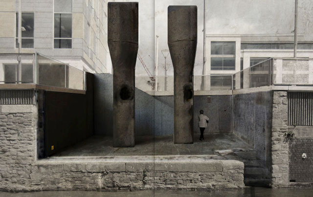 Roger Hiorns. The retrospective view of the pathway, 2016. Artist impression, courtesy of Witherford Watson Mann architects. Two seven-metre-tall black granite furnaces on Bristol's Temple Quay Central, part of an Art and the Public Realm Bristol commission.