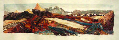 Valerie Hird. Central Asia Landscape II (with hats), 2000. Watercolour on paper, 10 1/4 x 34 3/4 in (26 x 88.3 cm). Courtesy of the artist and Nohra Haime Gallery.