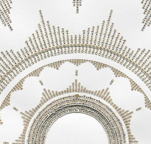 Meg Hitchcock. Subhan'Allah: The Lord's Prayer, 2013 (detail). Letters cut from the Koran and Bible, 20 x 22.5 in.
