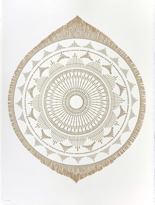 Meg Hitchcock. Amazing Grace, 2013. Letters cut from the Bhagavad Gita, 30 x 22 in.