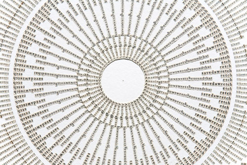 Meg Hitchcock. Amazing Grace, 2013 (detail). Letters cut from the Bhagavad Gita, 30 x 22 in.