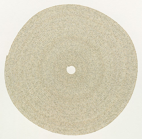 Meg Hitchcock. Lamentations: The Lamentations of Jeremiah from the Bible, 2014. Letters cut from the 9th Mandala of the Rig Veda, 24 x 23 in.