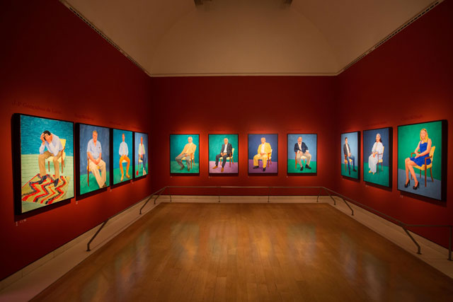 Installation view of David Hockney RA: 82 Portraits and 1 Still-life. © David Parry/Royal Academy of Arts.