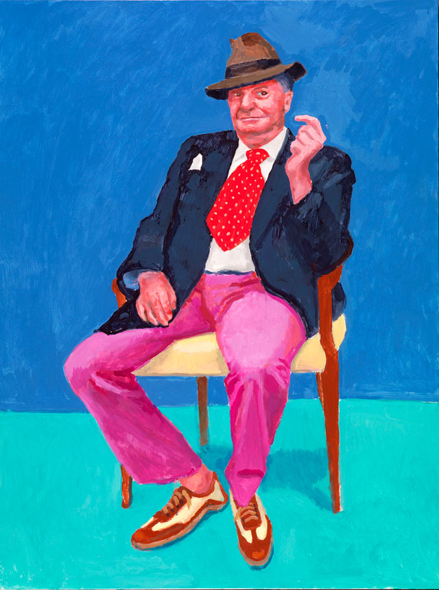 David Hockney. Barry Humphries, 26th, 27th, 28th March 2015. Acrylic on canvas, 121.9 x 91.4 cm. © David Hockney. Photograph: Richard Schmidt.