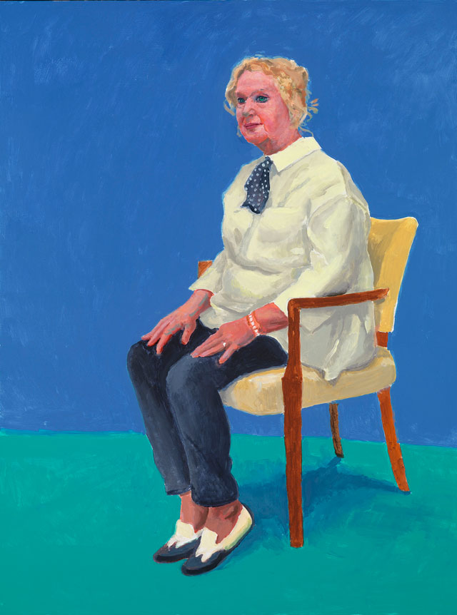 David Hockney. Celia Birtwell, 31st August, 1st, 2nd September 2015. Acrylic on canvas, 121.9 x 91.4 cm. © David Hockney. Photograph: Richard Schmidt.