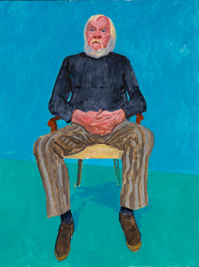 David Hockney. John Baldessari, 13th, 16th December 2013. Acrylic on canvas, 121.9 x 91.4 cm. © David Hockney. Photograph: Richard Schmidt.