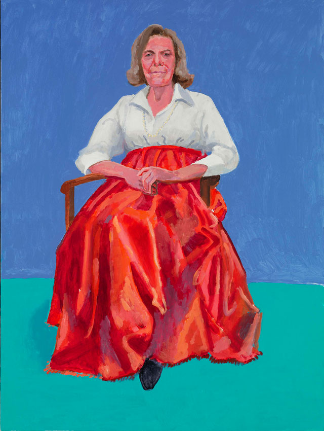 David Hockney. Rita Pynoos, 1st, 2nd March 2014. Acrylic on canvas, 121.9 x 91.4 cm. © David Hockney. Photograph: Richard Schmidt.