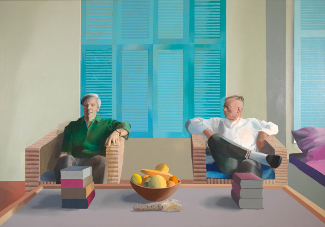 David Hockney. Christopher Isherwood and Don Bachardy, 1968. Acrylic paint on canvas, 212 x 303.5 cm. Private collection. © David Hockney.