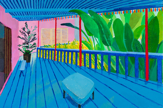 David Hockney. Garden with Blue Terrace, 2015. Acrylic paint on canvas, 121.9 x 182.8 cm. Private collection. © David Hockney.