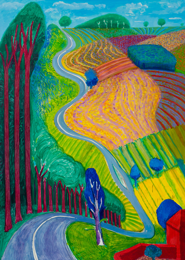 David Hockney. Going Up Garrowby Hill, 2000. Oil paint on canvas, 213.4 x 152.4 cm. Private collection, Topanga, California. © David Hockney.