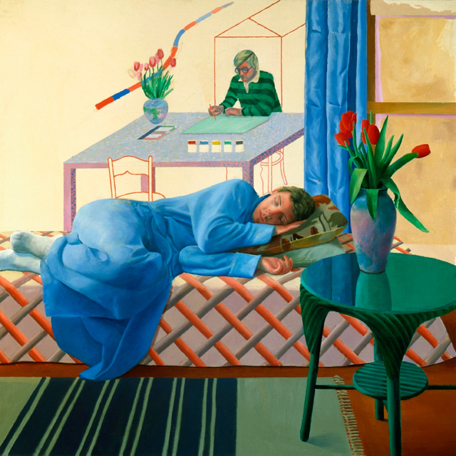 David Hockney. Model with Unfinished Self Portrait, 1977. Oil paint on canvas, 152.4 x 152.4 cm. Private collection c/o Eykyn Maclean. © David Hockney.