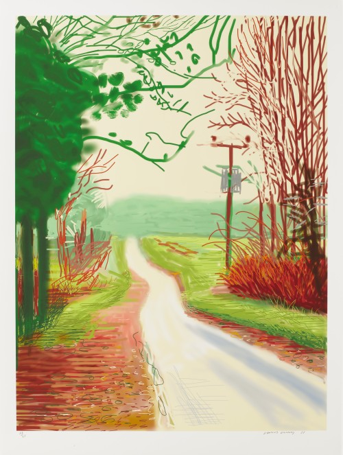 David Hockney. The Arrival of Spring in Woldgate, East Yorkshire in 2011 (twenty eleven) - 23 February. iPad drawing printed on paper, 55 x 41-1/2in (139.7 x 105.4 cm). Edition of 25. © David Hockney / Richard Schmidt.