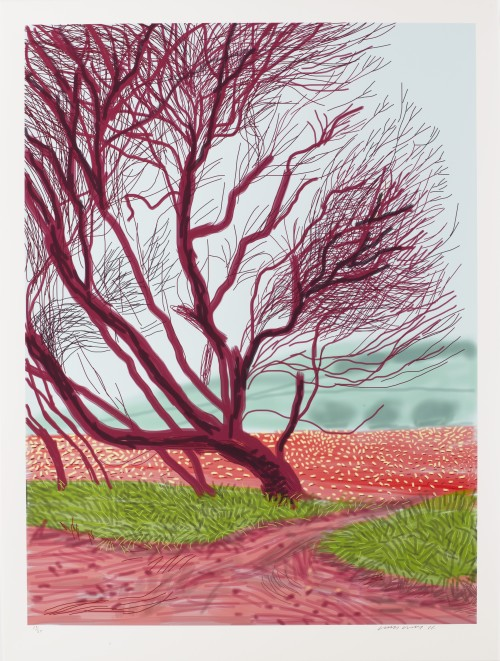 David Hockney. The Arrival of Spring in Woldgate, East Yorkshire in 2011 (twenty eleven) - 18 March. iPad drawing printed on paper, 55 x 41-1/2in (139.7 x 105.4 cm). Edition of 25. © David Hockney / Richard Schmidt.