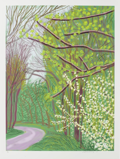 David Hockney. The Arrival of Spring in Woldgate, East Yorkshire in 2011 (twenty eleven) - 14 April. iPad drawing printed on paper, 55 x 41-1/2in (139.7 x 105.4 cm). Edition of 25. © David Hockney / Richard Schmidt.