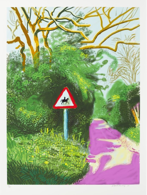 David Hockney. The Arrival of Spring in Woldgate, East Yorkshire in 2011 (twenty eleven) - 5 May. iPad drawing printed on paper, 55 x 41-1/2in (139.7 x 105.4 cm). Edition of 25. © David Hockney / Richard Schmidt.
