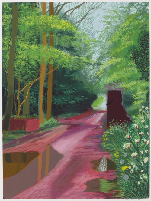 David Hockney. The Arrival of Spring in Woldgate, East Yorkshire in 2011 (twenty eleven) - 11 May. iPad drawing printed on paper, 55 x 41-1/2in (139.7 x 105.4 cm). Edition of 25. © David Hockney / Richard Schmidt.