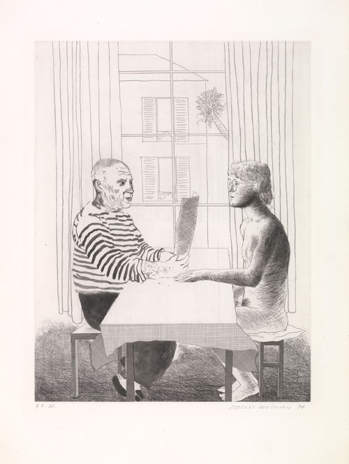 David Hockney. Artist and Model, 1973-74. Etching, 29 1/2 x 22 1/2 in, Edition: 100. © David Hockney.