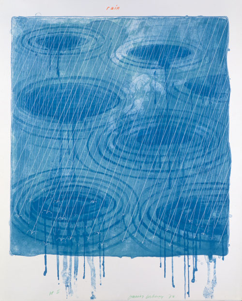 David Hockney. Rain From The Weather Series, 1973. Lithograph And Screenprint, 39 x 30 1/2 in, Edition: 98. © David Hockney / Gemini G.E.L.