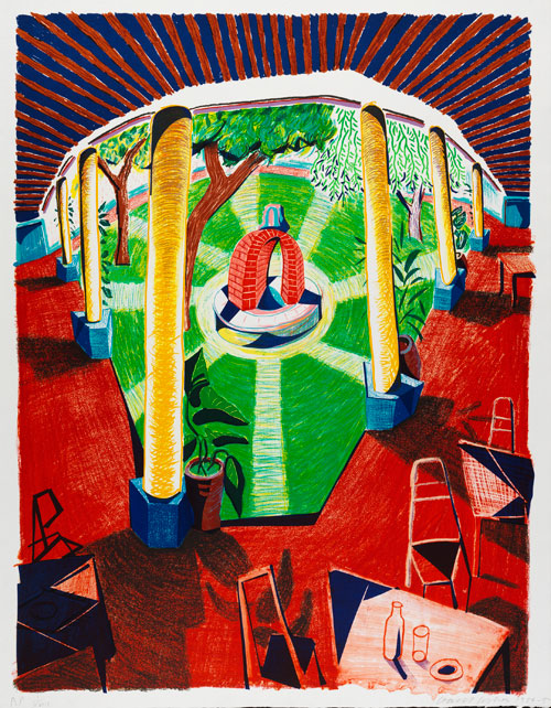 David Hockney. Views of Hotel Well III, 1984-85. Lithograph, 48 1/2 x 38 1/2 in. Edition: 80. © David Hockney / Tyler Graphics Ltd., Photograph: Richard Schmidt.