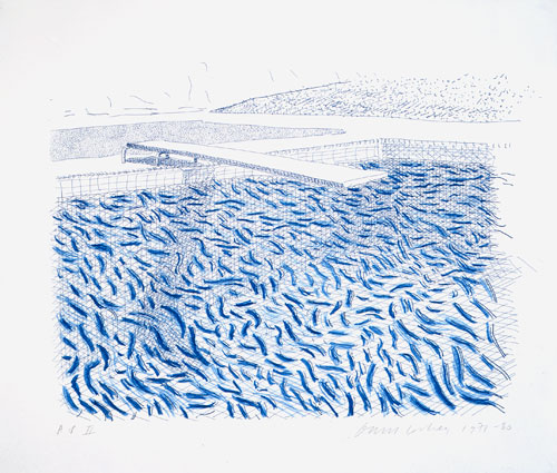 David Hockney. Lithographic Water Made Of Lines And Crayon (Pool II-B), 1978-80. Lithograph, 29 1/4 x 34 in, Edition: 42 © David Hockney / Tyler Graphics Ltd.