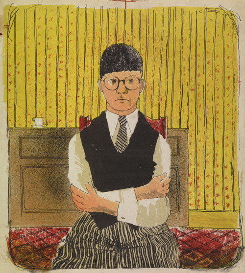 David Hockney. Self Portrait, 1954. Lithograph in Five Colours, 11 1/2 x 10 1/4 in. Edition: 5 (approximately) © David Hockney.