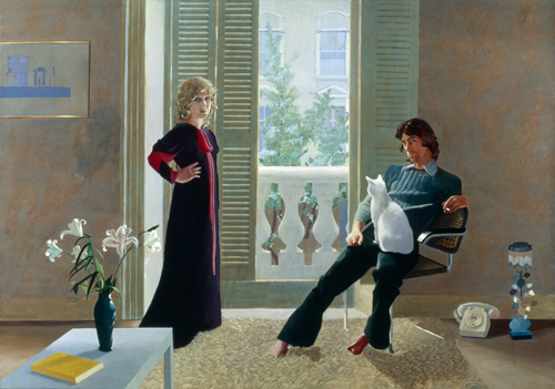 David Hockney. <em>Mr and Mrs Clark and Percy</em>, 1970-71. Copyright: Tate. Presented by the Friends of the Tate Gallery, 1971 Copyright David Hockney.