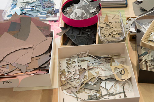 Charlotte Hodes. Studio interior with collage materials (2), London, May 2013. Photograph: Nick Howard.