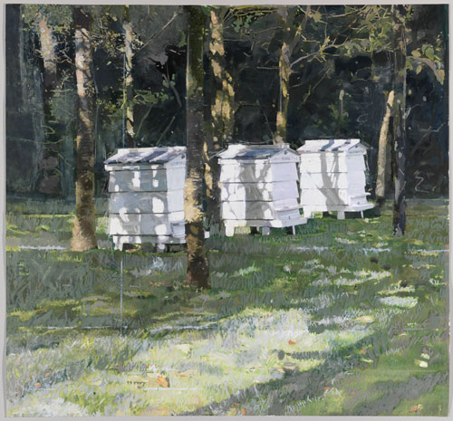 Eileen Hogan. Beehives at Little Sparta, 2013. Oil paint, charcoal and oil pastel on paper, 102 x 106 cm.