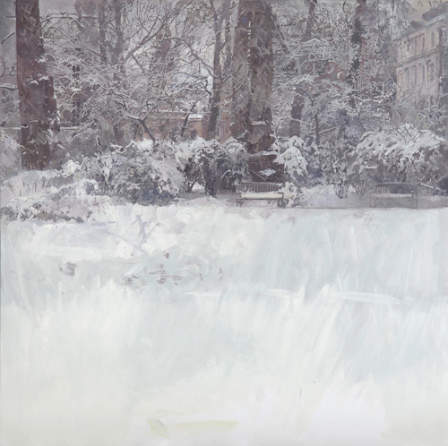 Eileen Hogan. Bryanston Square, 2010. Oil paint and charcoal on paper, 102 x 106 cm.