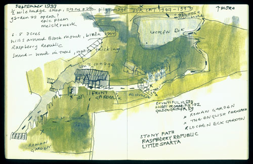 Eileen Hogan. Sketchbook with map of Little Sparta.